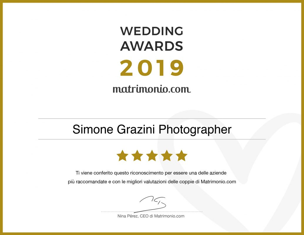 attestato miglior fotografo della tuscia simone grazini award matrimonio